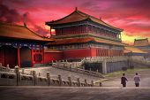 image of red roof  - Temples of the Forbidden City in Beijing China during sunset - JPG
