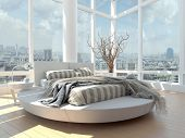 stock photo of comforter  - A 3d rendering of modern bedroom with floor to ceiling windows and cityscape view - JPG