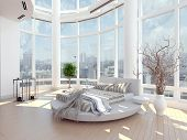 pic of household  - A 3d rendering of modern bedroom with floor to ceiling windows and cityscape view - JPG