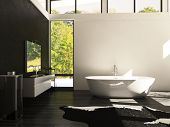 image of mirror  - A 3d rendering of modern design bathroom - JPG