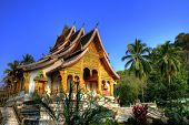 stock photo of buddhist  - Buddhist Temple in Luang Prabang Royal Palace - JPG