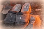 foto of clog  - the Old Wooden Clogs in the farm - JPG
