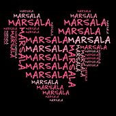 Marsala word cloud in pink letters against black background