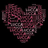 Lucca word cloud in pink letters against black background