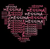 picture of messina  - Messina word cloud in pink letters against black background - JPG