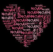 stock photo of noah  - Noah word cloud in pink letters against black background - JPG