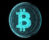 image of open-source  - A digital bitcoin made out of blue pixels on an isolated back background - JPG