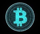 picture of open-source  - A digital bitcoin made out of blue pixels on an isolated back background - JPG
