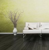 stock photo of lime  - 3D rendering of loft apartment interior with white couch against lime green wall - JPG