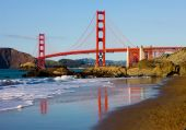 image of golden gate bridge  - Golden Gate Bridge on a sunny day in San Francisco - JPG