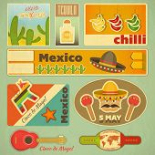 stock photo of maracas  - Set of Mexican Stickers in Retro Style - JPG