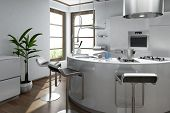 Modern luxury kitchen interior with bar stool