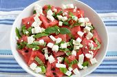 stock photo of melon  - Water Melon Salad with fresh mint and feta cheese - JPG