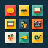 picture of popcorn  - Set of movie design elements and cinema icons in flat style - JPG