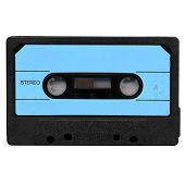 image of magnetic tape  - Magnetic tape cassette side A for audio music recording isolated over white background - JPG