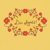 Vignette flower, bon appetite, vector background