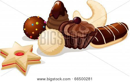 Still Life With Christmas Cookies - Vector Illustration On White Background