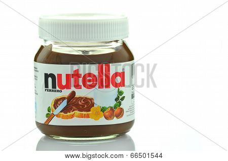 Jar of Nutella chocolate spread isolated on white background