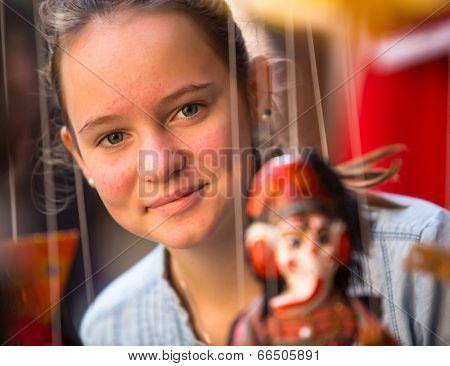Teengirl in a souvenir shop in Kathmandu.