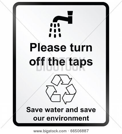 Turn off water Information Sign