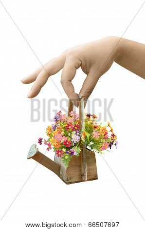 Woman Hand Holding Flower Bouquet