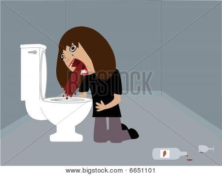 Drunk woman vomiting