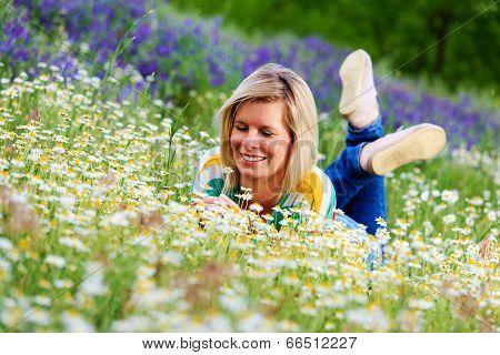 Pretty Girl Taking A Garden Of Flowers.
