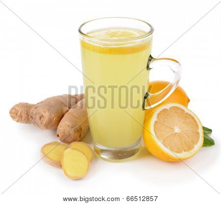 Healthy ginger tea with lemon and honey isolated on white