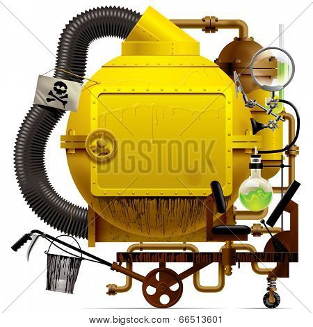 Vector isolated image of the complex fantastic machine with yellow round boiler, crimped pipe, chemical flask, sign, bucket, lens, equipment and armament
