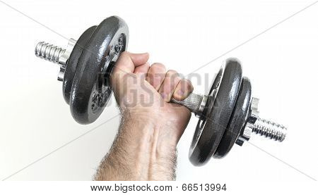 Arm with dumbbells