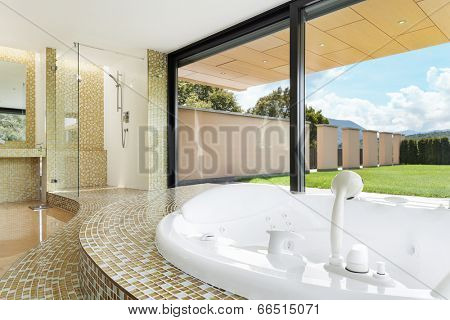 beautiful room with jacuzzi, window overlooking the garden
