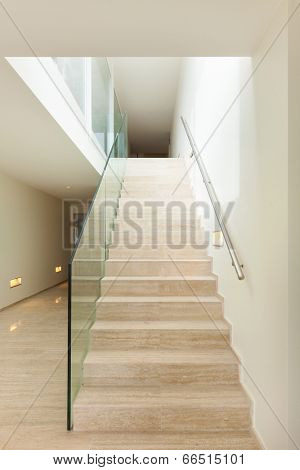 Interior, beautiful penthouse, marble stair