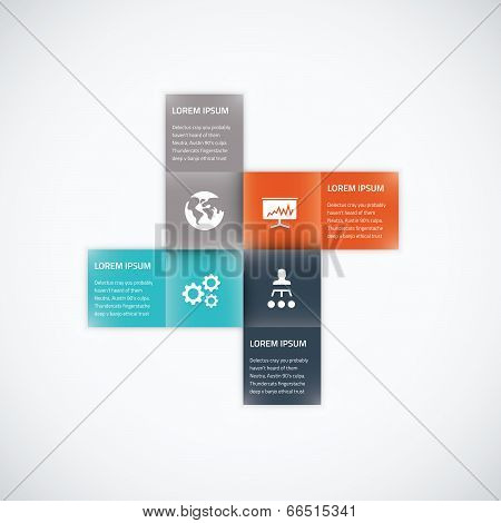 Square box business infographic option vector element flat color