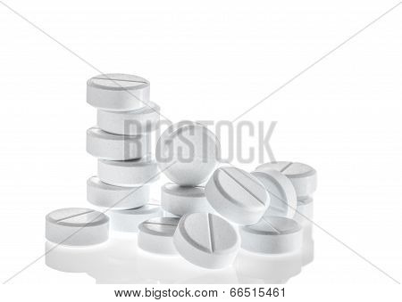 Closeup  Pills On White Background.