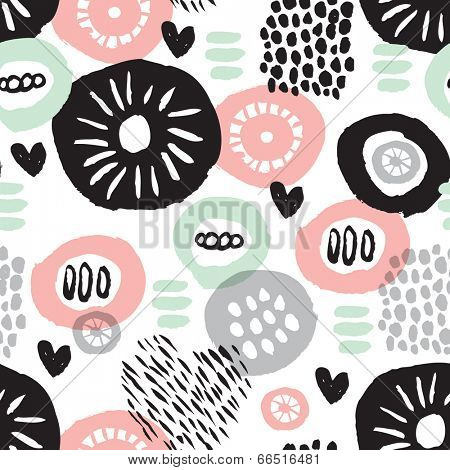 Seamless rustic garden illustration background flower pattern in vector