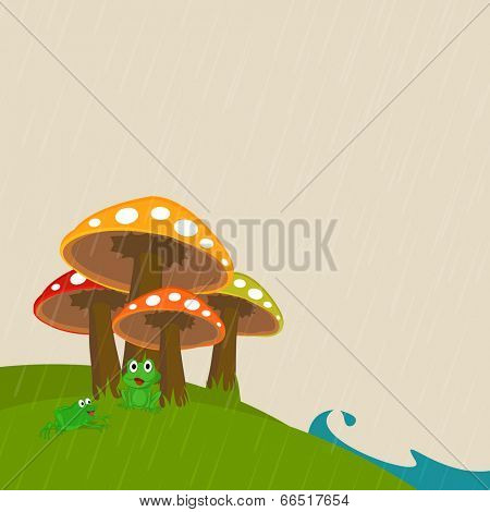 Cute frogs sitting under the colorful mushroom in raining day.