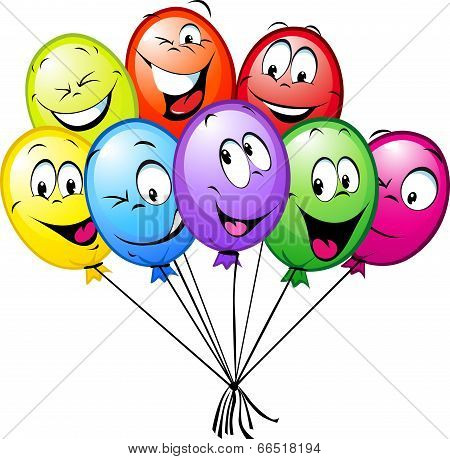 Group Of Funny Colorful Balloons