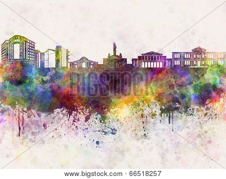 Nicosia Skyline In Watercolor Background