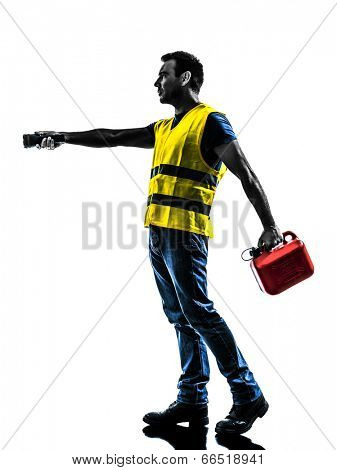 one man out of gas walking with safety vest and gasoline can silhouette isolated in white background