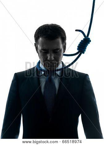 one  business man with hangman noose around the neck in silhouette studio isolated on white background