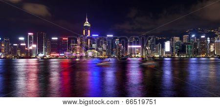 Hong Kong Island Central City Skyline At Night