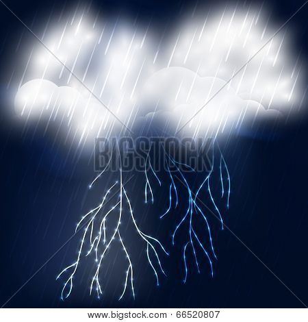 Thunderstorm concept with stormy cloud and electric lightning in the night background.