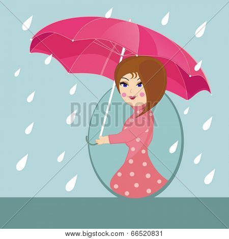 Cute girl under pink umbrella walking in the rain, beautiful flyer or template design for Monsoon Season.