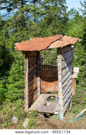 Wooden outhouse at mountains in Northern Turkey