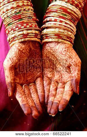 Henna Hands And Bangles - Indian Wedding