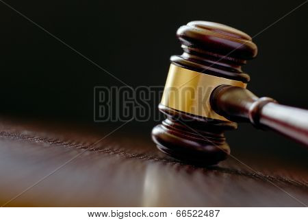 Head Of A Wooden Brass Bound Gavel