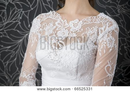 Lace White Wedding Dress Closeup