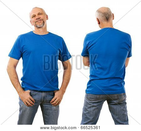 Man In His Forties Wearing Blank Blue Shirt