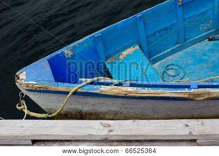 Old Blue Wooden Dinghy Skiff Boat