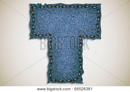 Denim letter alphabet texture jeans.